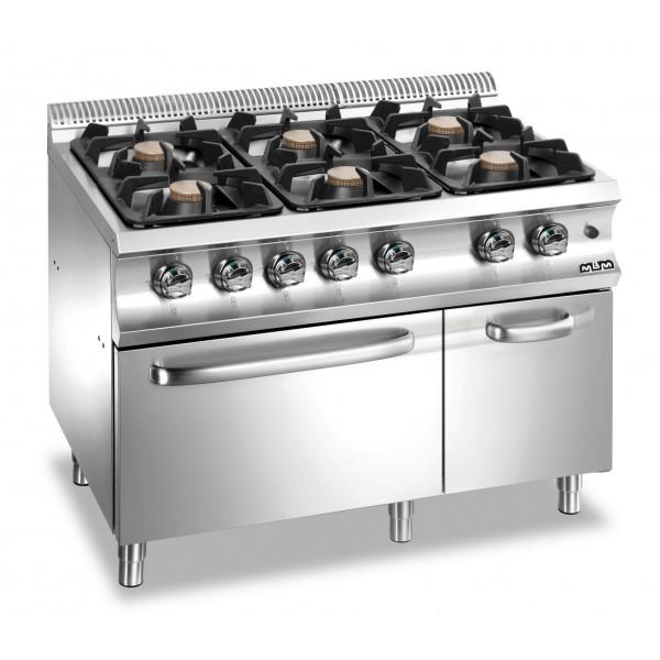 Печка  MBM - с  4 газови горелки, електрическа фурна и неутрален шкаф