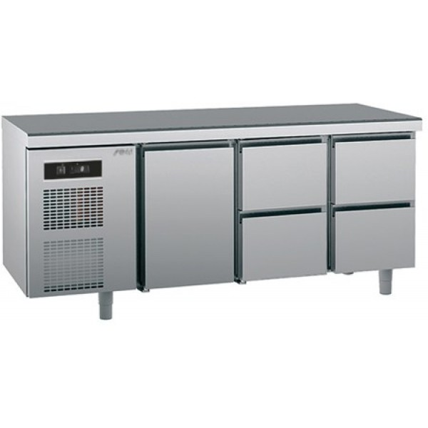 Refrigerated counter-GN1/1-antifingerprint-Twin - Sagi -KUEB4A