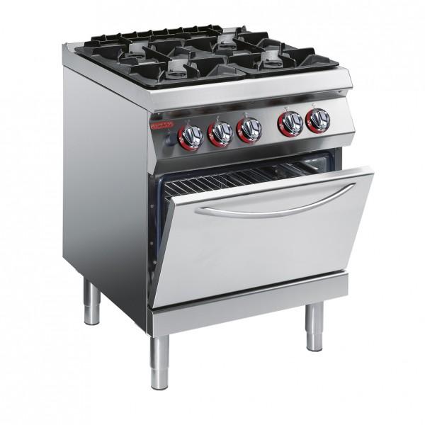 Печка  Angelo Po - с 4 газови котлона и статична електрическа фурна GN 2/1 -