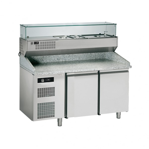 COMPLETE REFRIG.PIZZA COUNTER W/DISPLAY, NO DRAWERS - Sagi - KBPZ163S